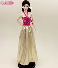 NK One Set Original Doll Clothes Luxury Golden Dress Fashion Skirt Party Gown For Barbie Original Doll Girl Best Gift  B023