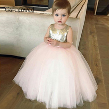 Puffy Gown Pink Skirt Sequin Bodice Scoop Neck Bow Knot Belt Cute Baby Birthday Flower Girl Dresses Girl Kids Prom Dresses