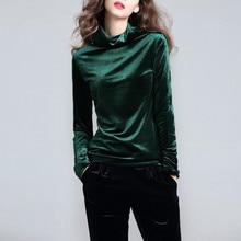 Velvet Tops Women Shirts Solid Color 2018 Spring Fashion Long Sleeve  Turtleneck Velour Blouse Plus Size Women Basic Shirt 34408b74ee1d
