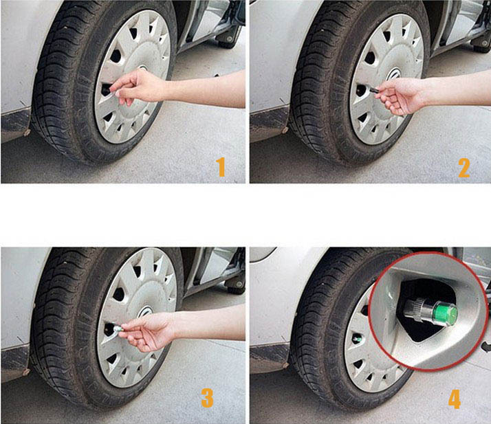 2.4bar 36PSI Car Tyre Tire Pressure Monitor Indicator Valve Stem Cap ...
