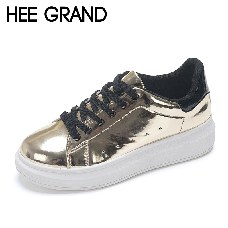HEE GRAND Patent Leather Creepers Platform Shoes Woman 2017 Casual Loafers Gold Silver Flats Lace-Up Women Shoes XWC1010 hee grand lace up gladiator sandals 2017 summer platform flats shoes woman casual creepers fashion beach women shoes xwz4085