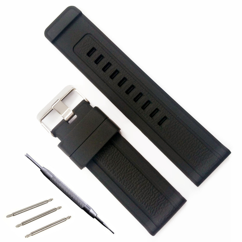 24 mm Black Silicone Strap Watch Accessories Watch Band Pin Buckle Strap WatchBand Rubber Strap+Tool