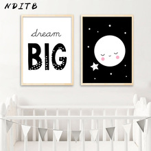NDITB Nursery Wall Decor Canvas Posters and Prints Art Painting Black White Decorative Picture Nordic Kids Bedroom Decoration