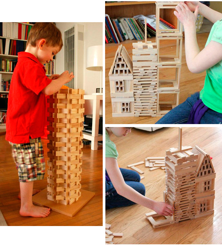 Baby Educational Toys Citiblocs 300Pcs Nature Wood Building Blocks Interactive Games Set Wooden Toys Deluxe Birthday Gift