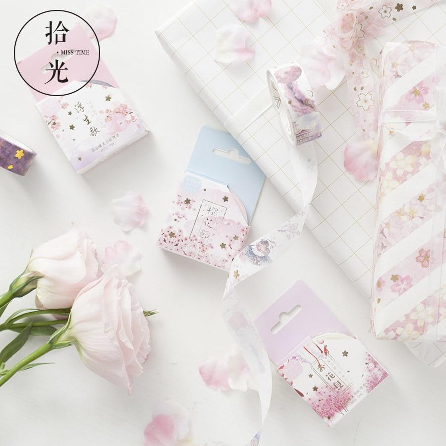 1.5cm Cherry Sakura Festival Gilding Washi Tape Adhesive Tape DIY Scrapbooking Sticker Label Masking Tape
