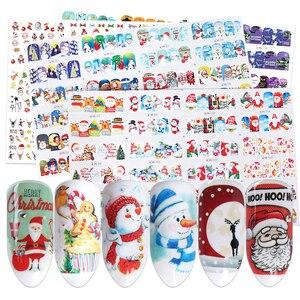 Image 1 - 12 diseños de pegatinas para uñas al agua de Navidad, calcomanías de transferencia deslizantes, ciervo muñeco de nieve, envolturas de esmalte de Gel para Halloween, TRBN985 1032 de decoración de uñas