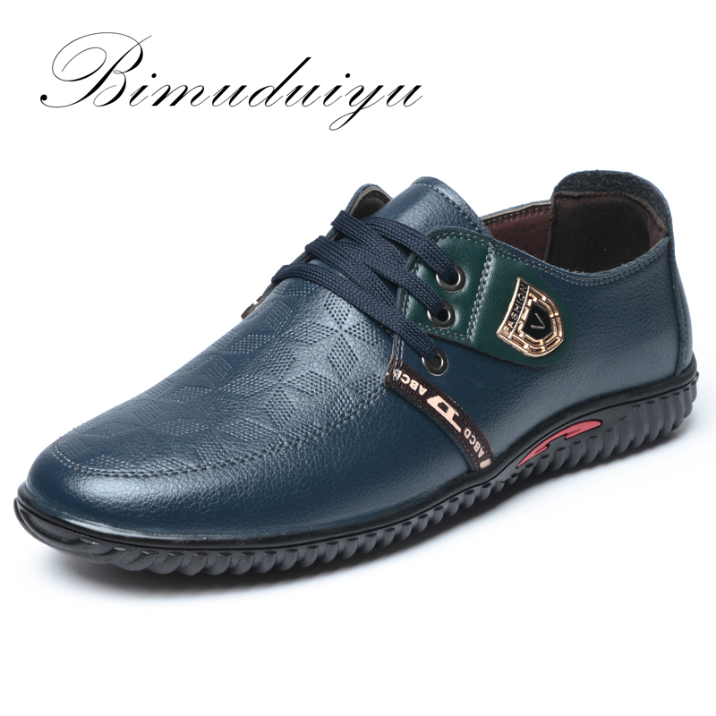 BIMUDUIYU Luxury Brand Hot Sale Breathable Soft Men Casual Leather Shoes Lace-up Flat Black Shoes Zapatillas Deportivas Hombre summer trainers men shoes flat shoes walking casual soft breathable mesh zapatillas deportivas spring lace up 2018 new admx1828