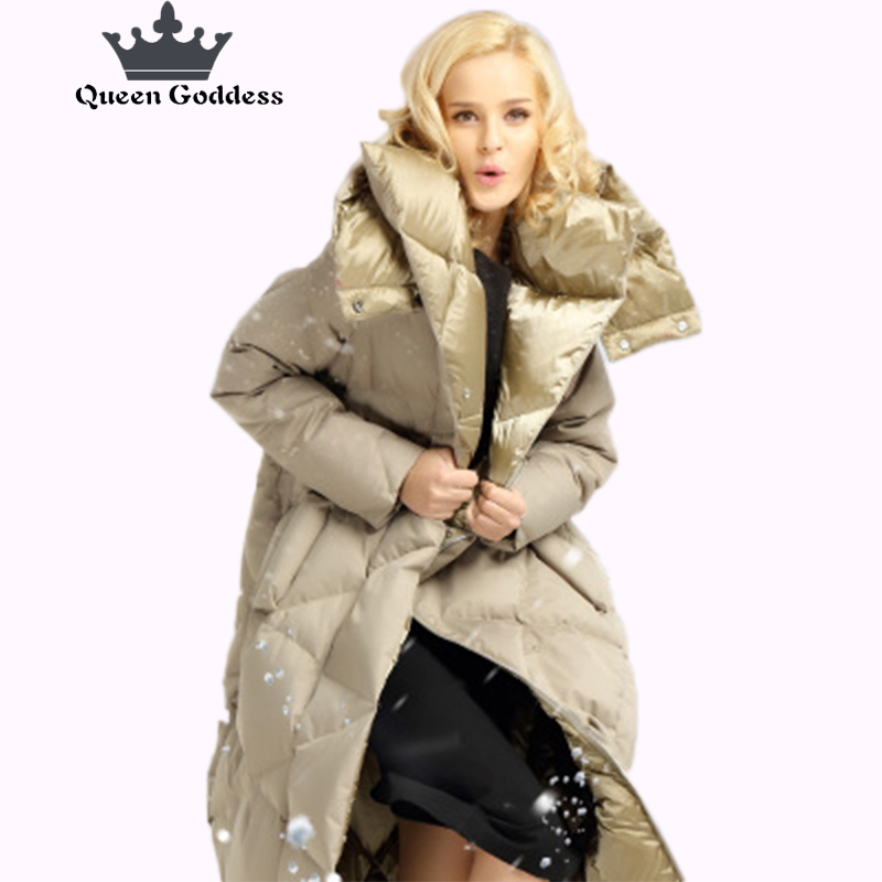 2017 Queen Goddess design for cocoon coat winter long duck down jacket women high quilty parkas outwear hooded clothing collect