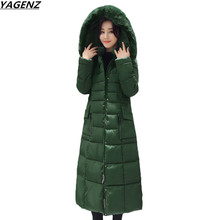 YAGENZ Women Coat Jacket Warm Woman Parka Winter Jacket Hooded Fur Collar Mid-Length Down Cotton Jacket Overcoat Plus 4XL K638