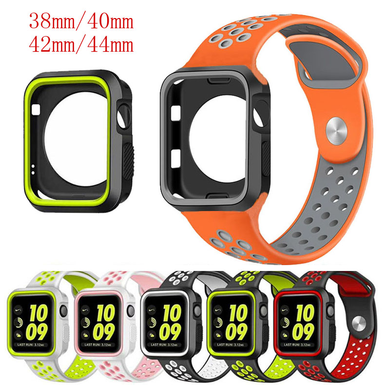 Silicone Sport Strap For Apple Watch Band 4 3 2 42mm 44mm Iwatch Band 38mm 40mm Wrist Bracelet Watch Case Strap Set Accessories