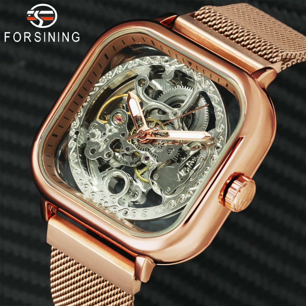 FORSINING Top Brand Luxury Unisex Watch Men Auto Mechanical Hollow Dial Magnet Strap Fashion Royal Wristwatch Innrech Market.com