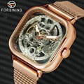 FORSINING Top Marca de Luxo Unisex Assista Homens Auto relógio de Pulso Mecânico Oco Dial Cinta Ímã Moda Real Relógio de HIP HOP Masculino