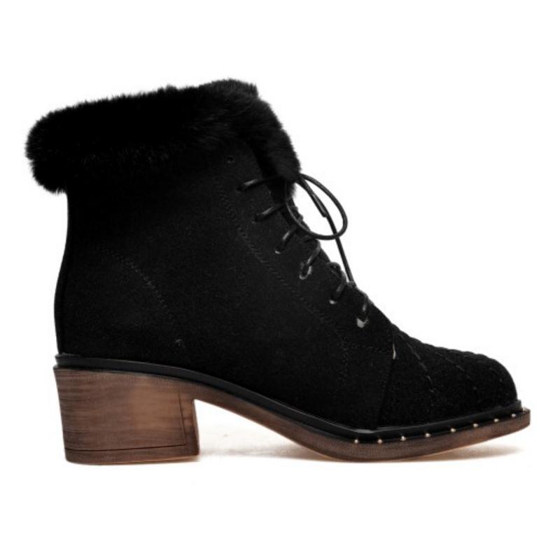 Botas dark Demi Brown Chaussures Noir Green Coolcept Haut Hiver Footwears Bottes Femmes 32 Court Taille Talon 43 Chaudes Bandoulière Froid dark Neige vN0mnwy8O