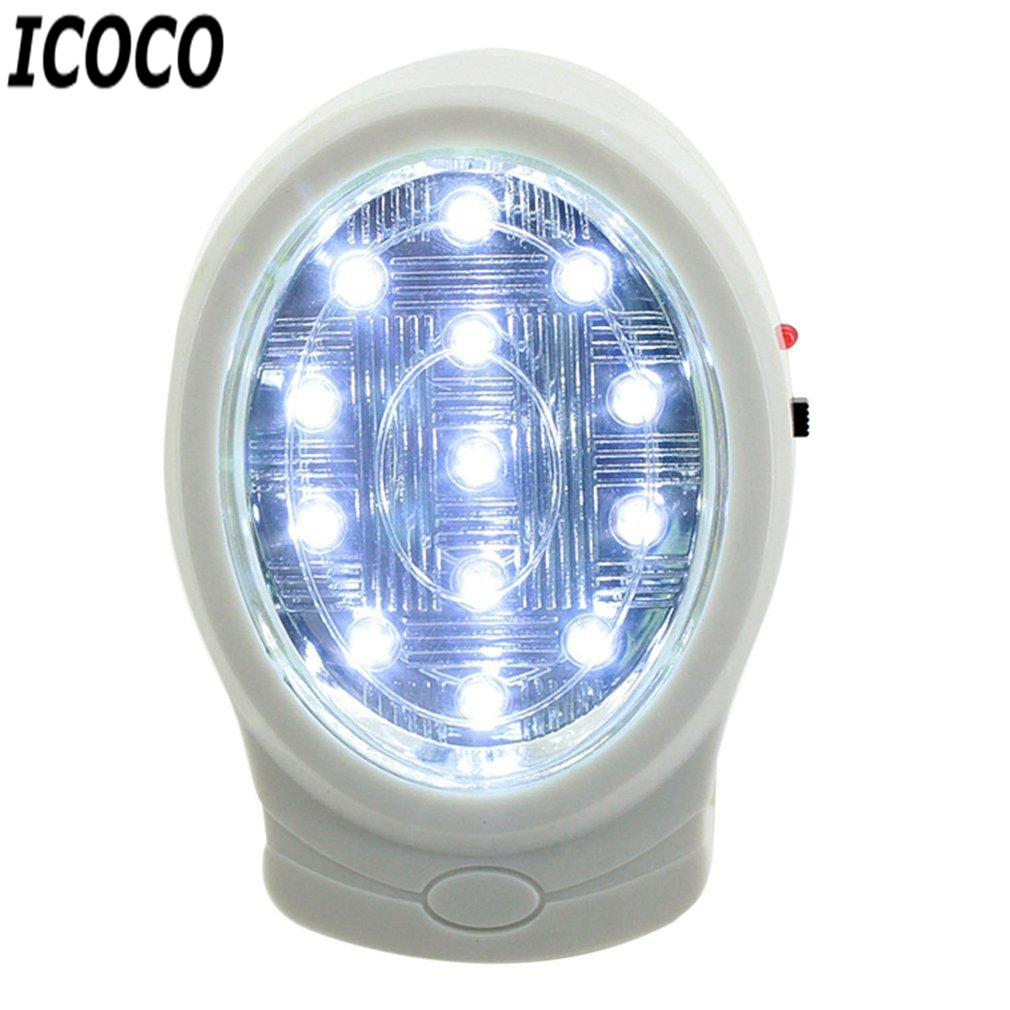 ICOCO 1pc 2W 13 LED Rechargeable Home Emergency Light Automatic Power Failure Outage Lamp Bulb Night Light 110-240V US Plug Sale