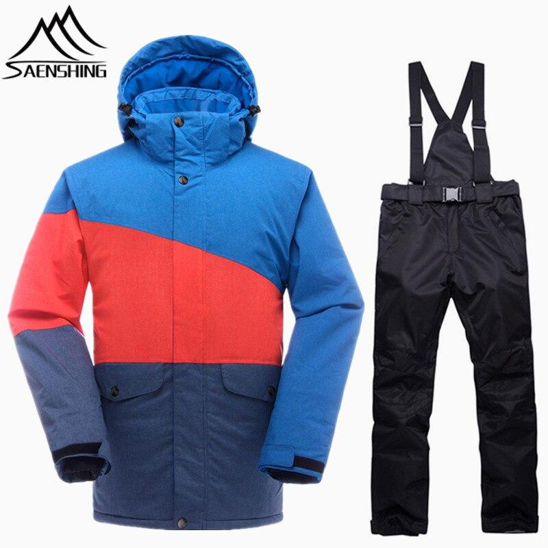SAENSHING Marque Snowboard Costumes Hommes Combinaison de Ski Imperméable Super Chaud Hiver veste de Ski Snowboard Pantalon de Ski En Plein Air de Neige Costumes