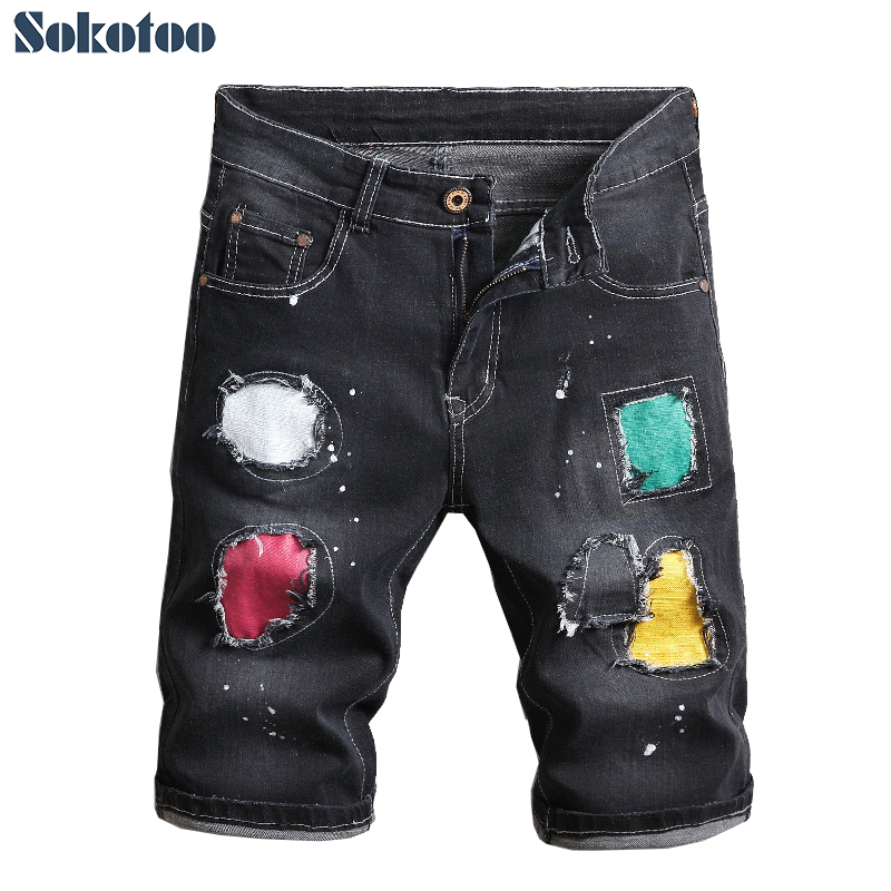 Men's Colored Patchwork Slim Straigth Stretch Denim Shorts Fashion Summer Patches Knee Length Ripped Jeans