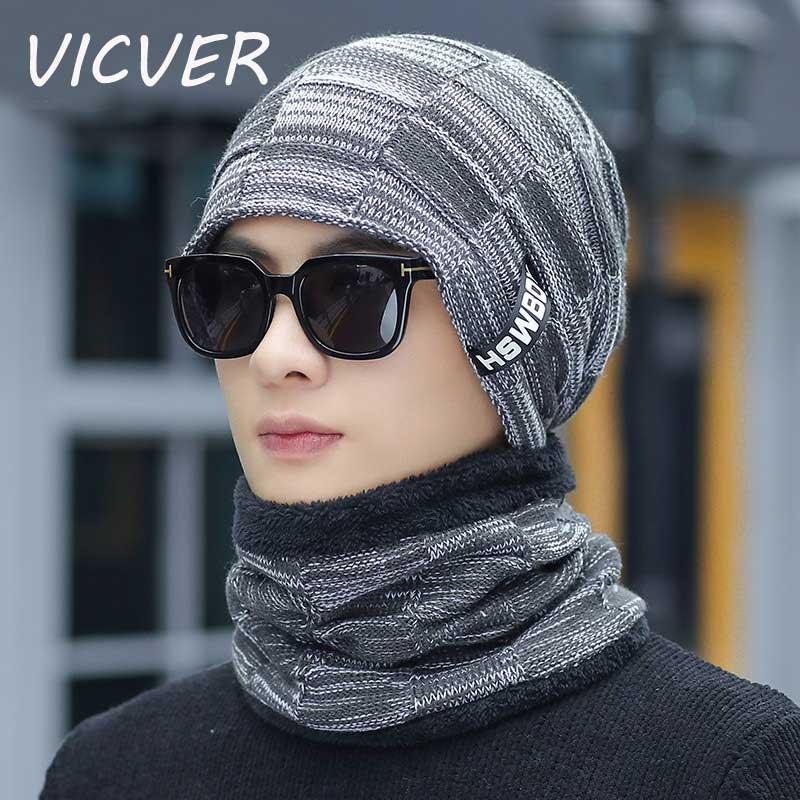 Scarf Beanies Knit-Hat Balaclava-Mask Cotton-Caps Skullies Woolen Male Men Neck-Warmer