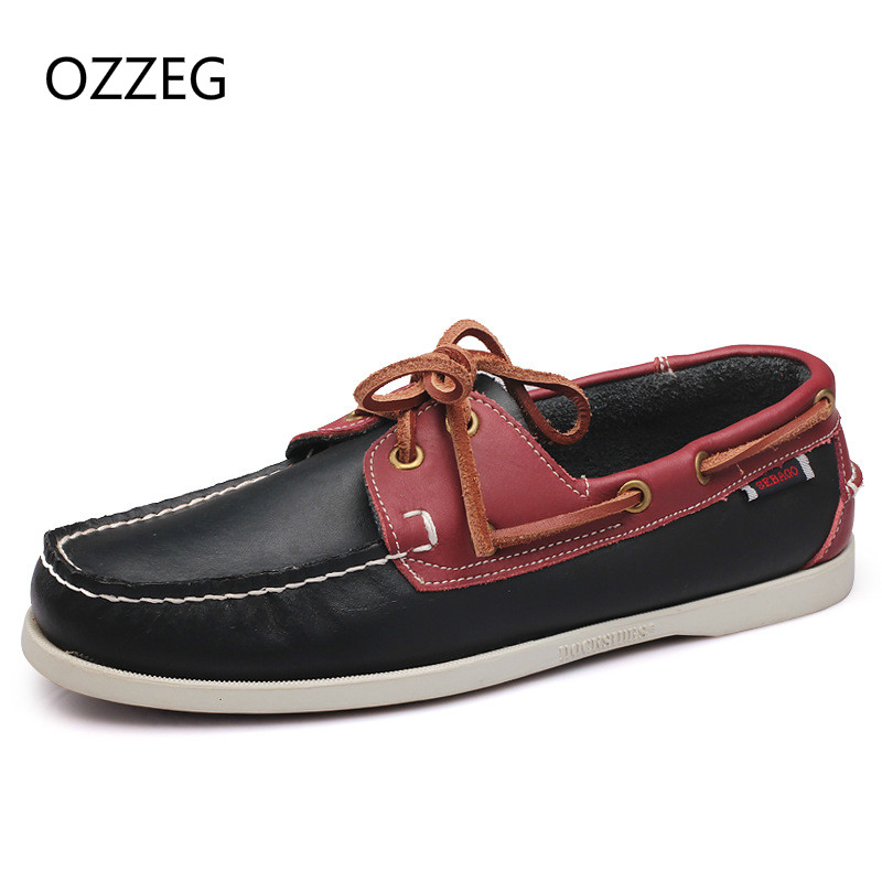 Spring Autumn New Men Flat Shoes Soft Genuine Leather Loafers Comfortable Casual Driving Flats Shoes Fashion Men Shoes Lace Up new arrival spring autumn fashion leqemao brand men casual shoes oxford genuine leather high quality lace up comfortable shoes