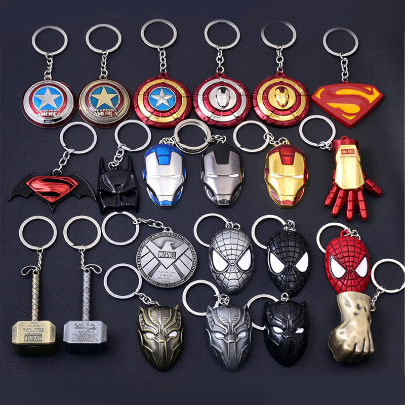 1PC Key Chain Gift Toys Marvel Avengers Metal Captain American Shield Keychain Superman Spiderman Batman Mask Keyring Toys(China)