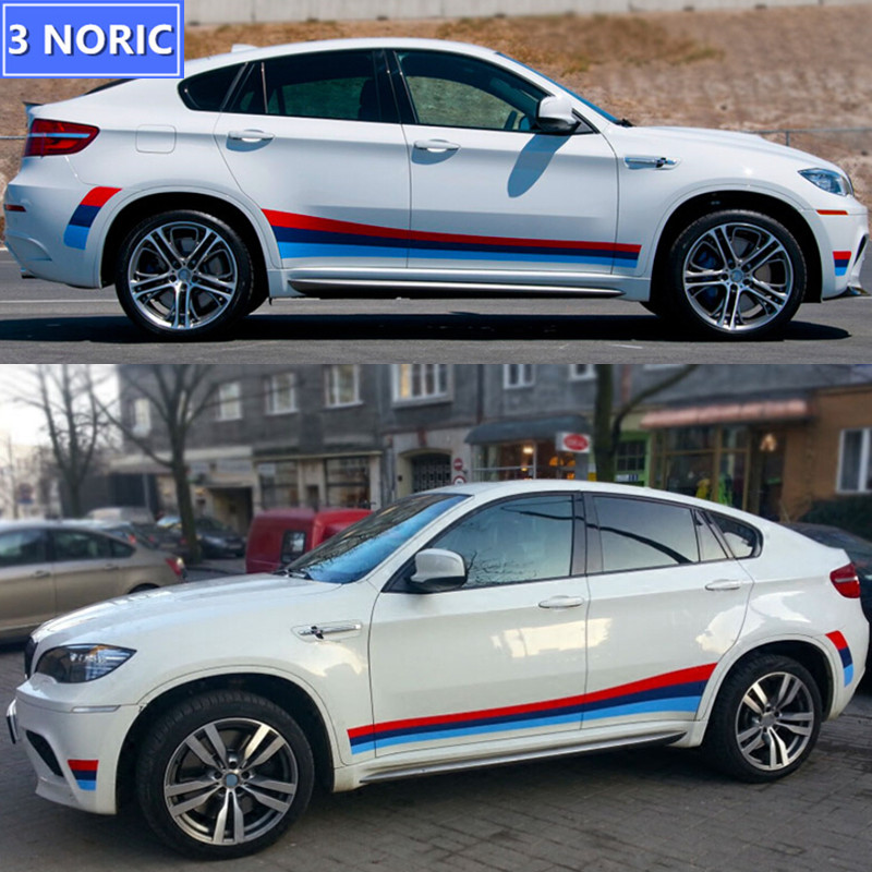 Car Side Skirts Vinyl Decal Sticker Exterior Auto Body/Door Decoration Stickers For BMW X5X6 1/3 ...