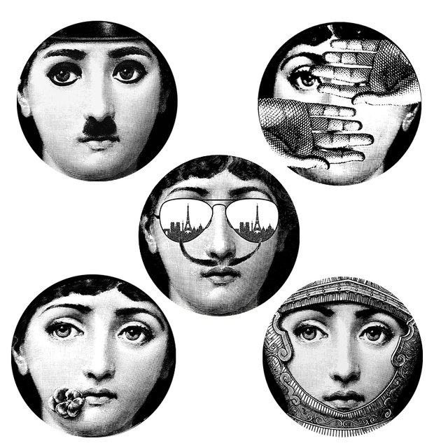 5 pcs Milan Designer fornasetti plates pattern wall sticker creative painting DIY home decorative wallpaper Promotion price
