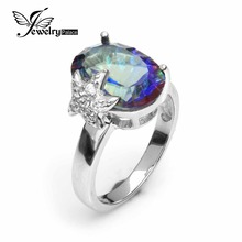 Model New 5.8ct Real Rainbow Fireplace Mystic Topaz Ring Concave Oval Lower 925 Strong Sterling Silver Style Jewellery Ladies Present