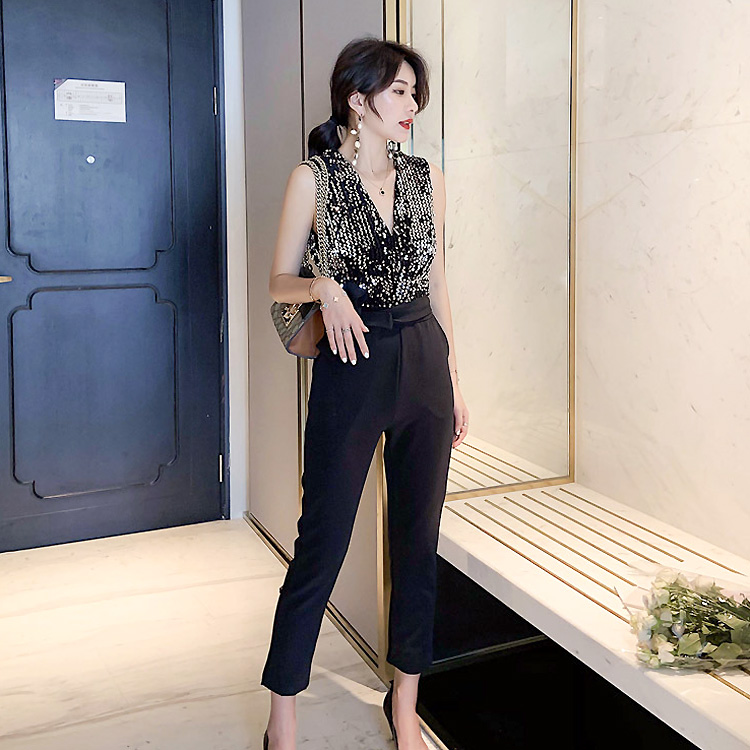2019 Summer Jumpsuit for Women Ankle Length Black Color Sexy amp Club Elegant Evening Party Jumpsuits with Sequined in Jumpsuits from Women 39 s Clothing
