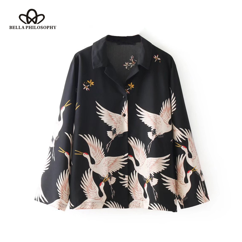 Bella Philosophy 2018 winter women casual long sleeve shirt print turn down collar female blouse fashion crane polyester shirt