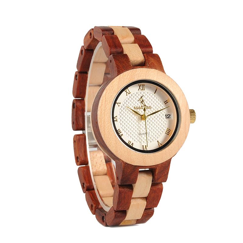 BOBO BIRD Rose SandalWood Elegant Minimal Wooden Watch For Women 17