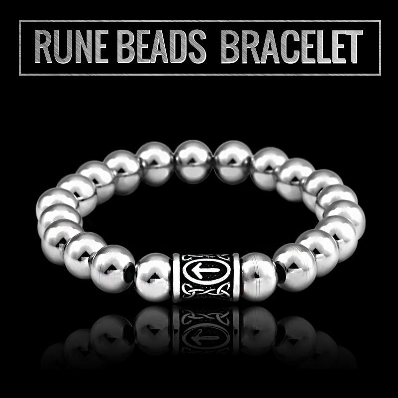 Beier 316L Stainless Steel Dropshipping High Quanlity Viking Rune Beads Bracelet Myth Amulet For Men Gift Jewelry Hss010