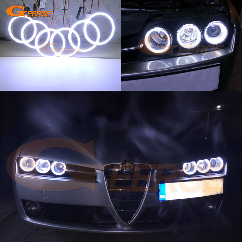 For Alfa Romeo 159 2005 2006 2007 2008 2009 2010 2011 Excellent Ultra bright illumination COB led angel eyes kit halo rings