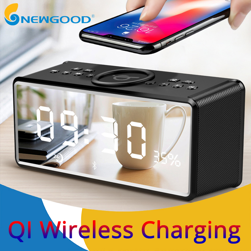 Portable Wireless Bluetooth Speaker FM Radio Alarm Bass Sound Systems 3D Stereo Surround Wireless Charger For iPhone Samsung