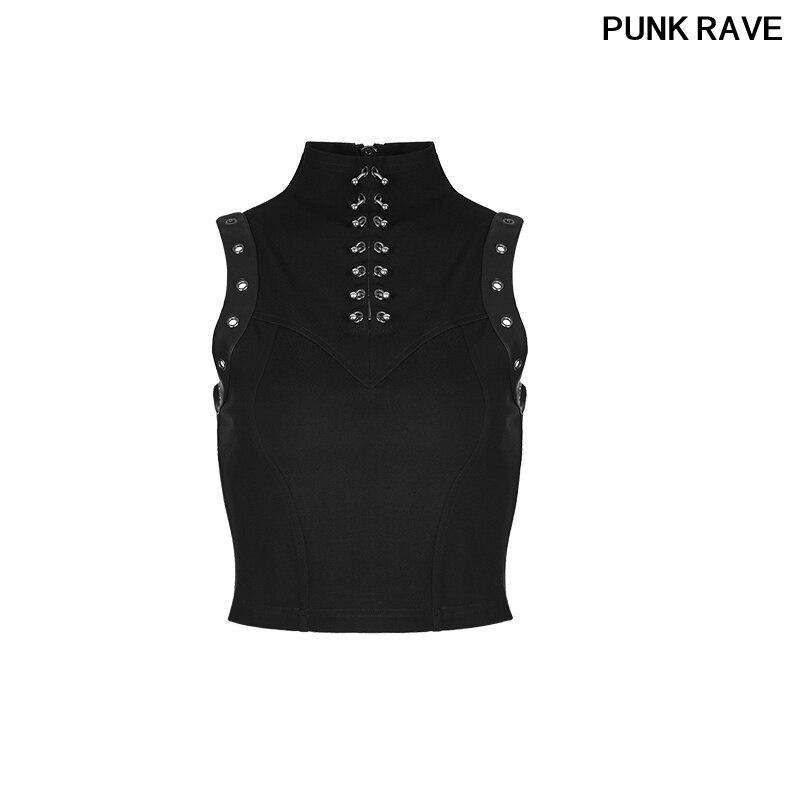 Mode Punk sans manches Semi haut col dos col avec fermeture éclair réservoir hauts gothique noir nouveau femmes gilet PUNK RAVE WT-507BXF
