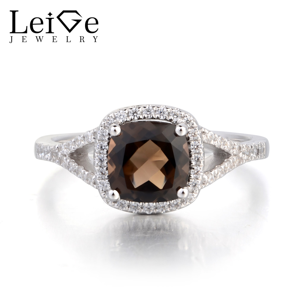 Leige Jewelry Cocktail Party Ring Natural Smoky Quartz Ring 925 Sterling Silver Ring Cushion Cut Brown Gemstone Gifts for Women цена