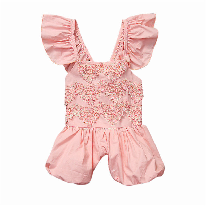 2017 New Infant Baby Girl Lace Romper Cute Jumpsuit Toddler Summer Clothes Outfit 1-5Y newborn infant baby girl clothes strap lace floral romper jumpsuit outfit summer cotton backless one pieces outfit baby onesie