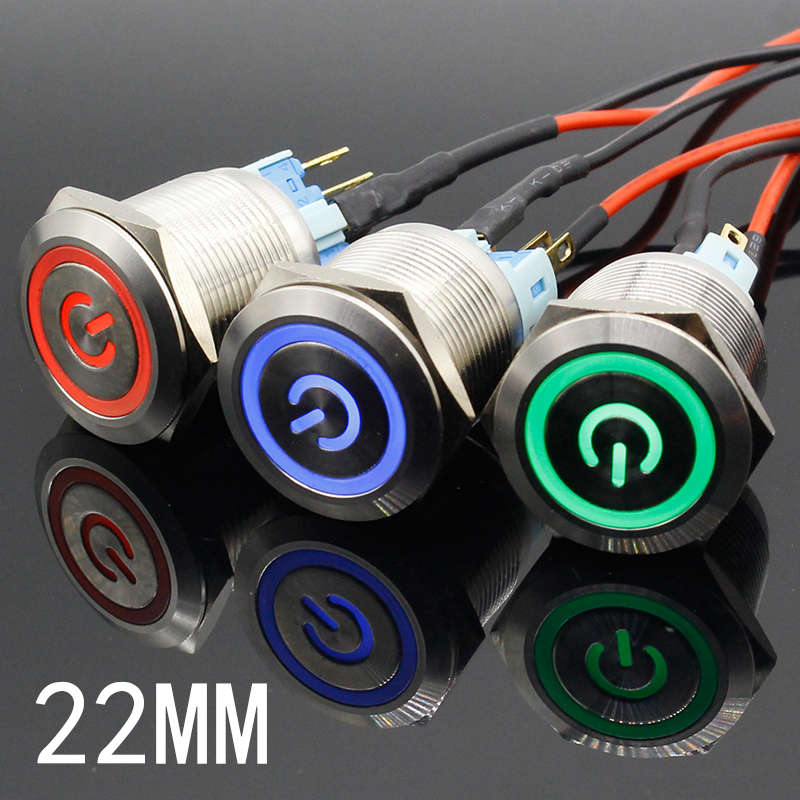 22mm Waterproof Latching Stainless Steel Metal Lamp LED Light Horn Power Push Button Switch Car Auto Engine Start PC 5V 12V 24V