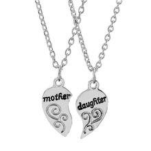 87aa6bec5562 Par 1 par de Gargantilla para mujeres niñas joyería enlace cadena encantos madre  hija collar moda letras corazón collares colgan.
