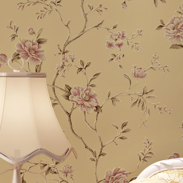 Retro American Floral Modern Flower Wallpaper Roll Grils Room Bedroom Decor Garden Backdrop Yellow Chinoiserie Wall