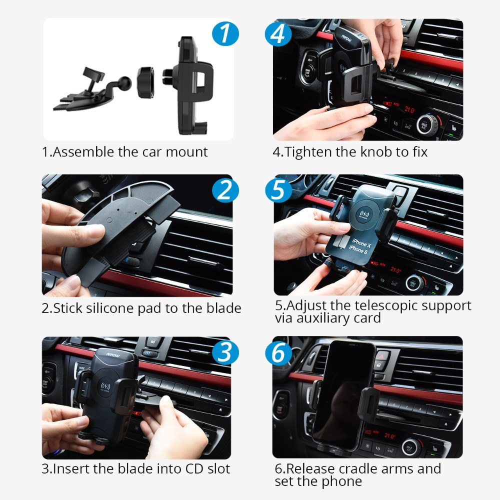 Image 3 - Mpow CA108 2 in 1 10W/7.5W/5W Qi Wireless Charger CD Slot Car  Phone Holder Stand For iPhone X 8/Plus Samsung S9 S8 S7 S6 Note 8Phone  Holders