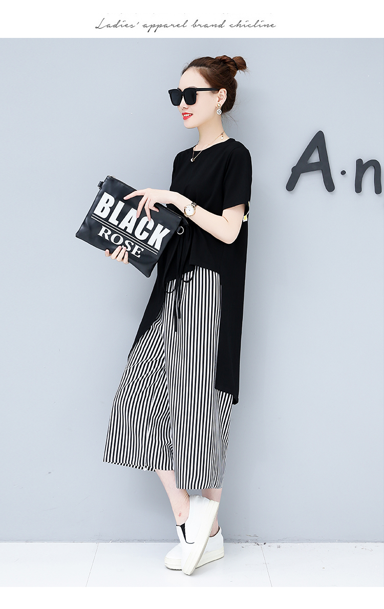 Summer Casual Two Piece Sets Women Black White Short Sleeve Tshirt And Striped Wide Leg Pants Sets Suits Plus Size Women's Sets 46