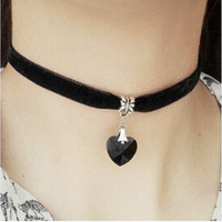 NK2015 New Fashion Retro Punk Gothic Velvet Crystal Heart Necklace Tattoo Collares Bijoux For Women Jewelry Clavicle Choker