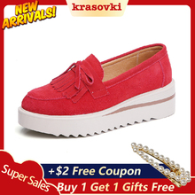 Krasovki Platform Shoes Flats Tassel For Women Slip on Creepers Sneakers moccasins Suede Loafers new sneakers Wedges