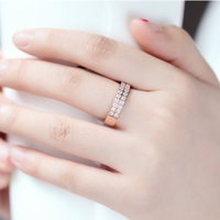 High Quality New Fashion Rose Gold Plated 316L Stainless Double Line Rhinestone Women Rings US Size