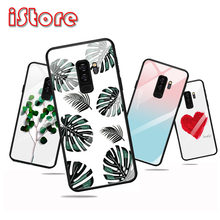 TPU soft edge Painted pattern glass back phone case for Samsung A70 A50 A30 A10 A20 Galaxy M20 J6Plus J4Plus A7 2018(China)