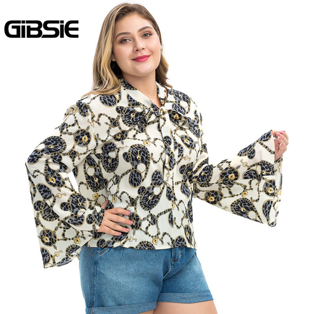 GIBSIE Plus Size Chain Print Bow Tie Neck Long Sleeve Shirt Women Tops Autumn Fashion Elegant Office Lady Workwear Women Blouses 3
