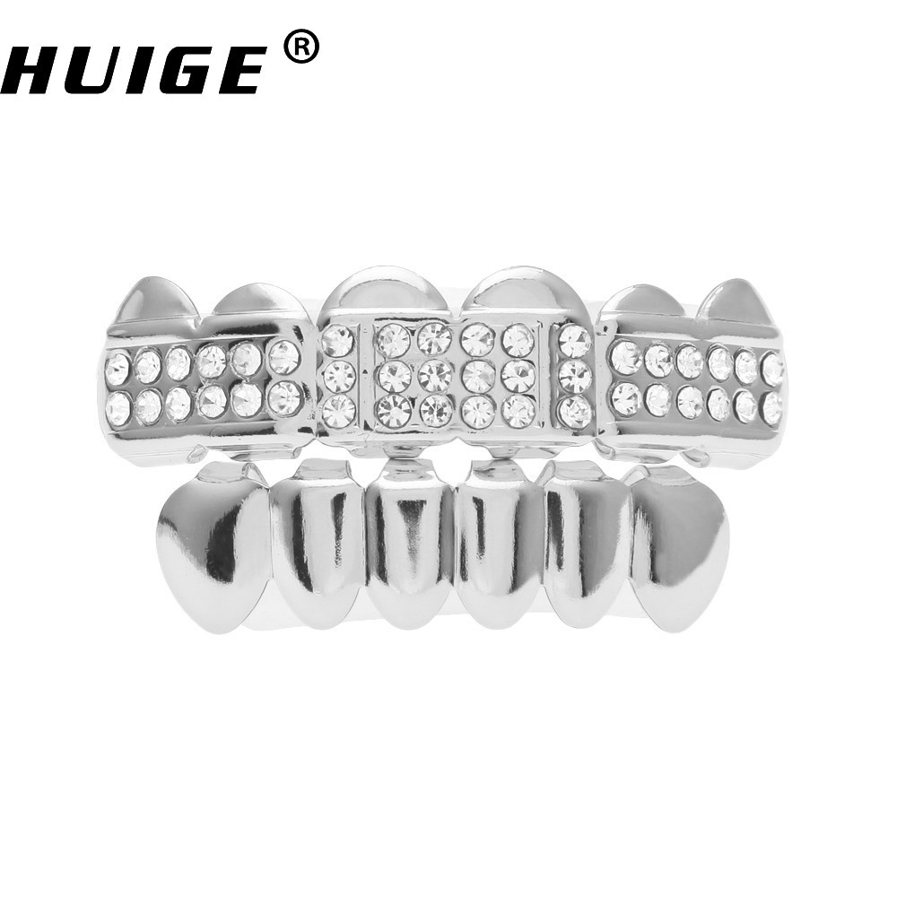 Real Shiny Hip Hop Silver Tone Iced Out Simulated Diamonds Teeth Bling Switch Wiring Diagram Grills Set Top Bottom Gold Color Gift