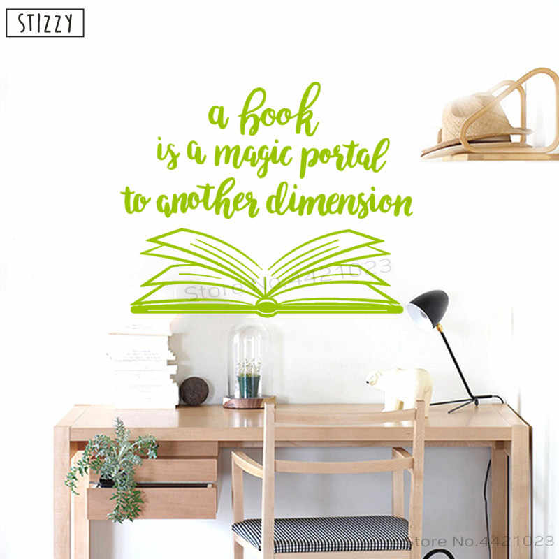 STIZZY Wall Decal Library Quotes Book Is A Magic Portal Vinyl Wall Stickers  Creative Classroom Decoration Kids Room Decor C149