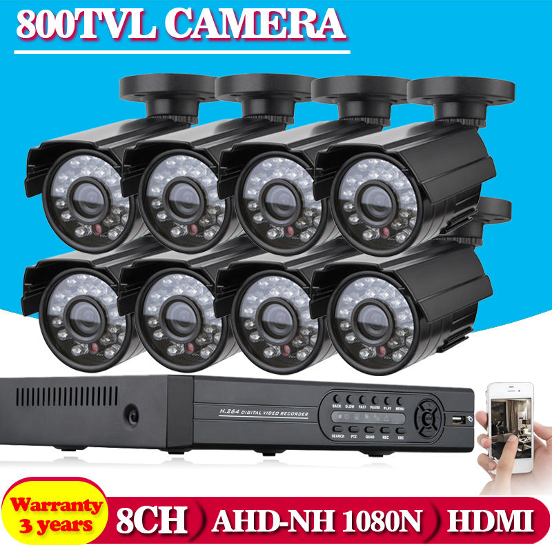 Home 8CH CCTV font b Security b font System 8 channel 1080N AHD DVR 800TVL outdoor