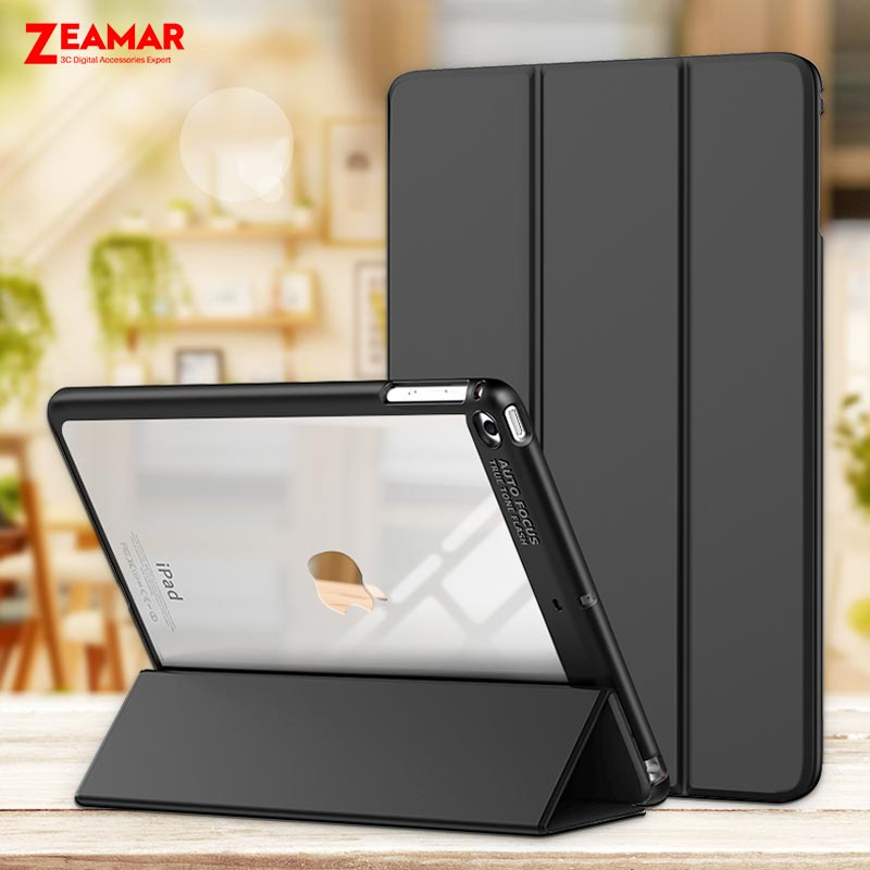 Case For Apple iPad Pro 9.7 inch ZEAMAR Leather Smart Cover Transparent Hard Back Silicone Edge Case For iPad Pro 9.7 2016 Funda