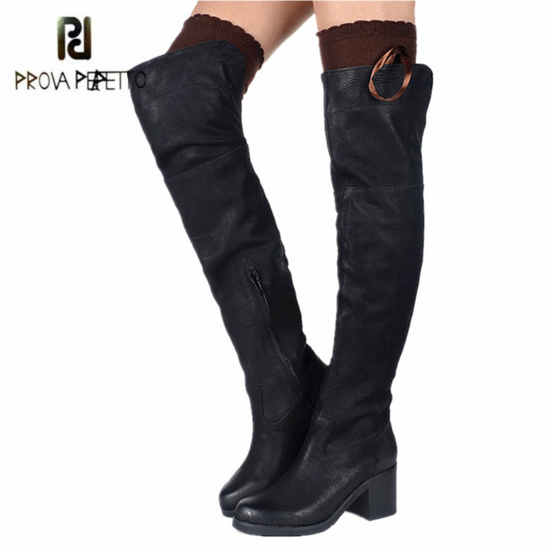 Prova Perfetto Black Genuine Leather Women Thigh High Boots Over The Knee Boots Platform High Heel Long Boot Ladies Martin Boot cicime summer fashion solid rivets lace up knee high boot high heel women boots black casual woman boot high heel women boots